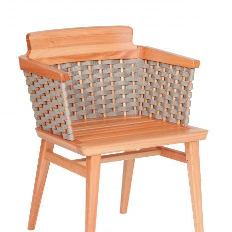 Cadeira Lótus com Braços - Trama Cinza (sem almofada)