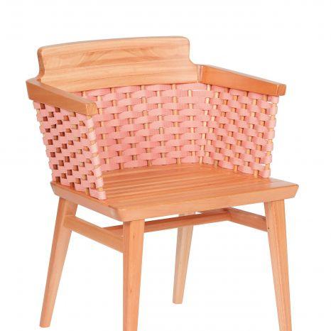 Cadeira Lótus com Braços - Trama Rosa - Verniz Natural (sem almofada)