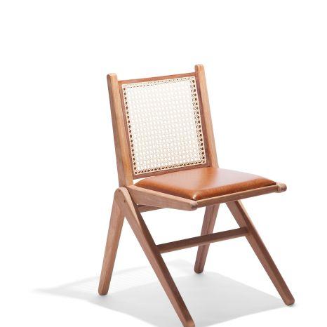 Cadeira CM9 - Assento Estofado Couro Marrom/Encosto Palha