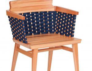 Cadeira Lótus com Braços - Trama Azul Marinho - Verniz Natural (sem almofada)