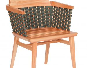 Cadeira Lótus com Braços - Trama Verde Oliva - Verniz Natural (sem almofada)