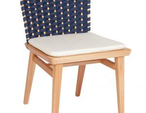 Cadeira Lótus sem Braços - Trama Azul Marinho  (com almofada)