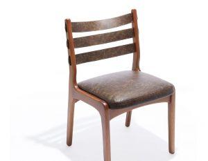 Cadeira Tarja sem Braços - Verniz Freijó - Couro Marrom